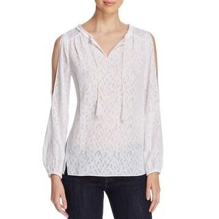 T Tahari Womens Pullover Top Long Sleeves Burnout