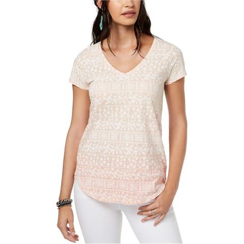 Lucky Brand Womens Ombre Tile Print Basic T-Shirt