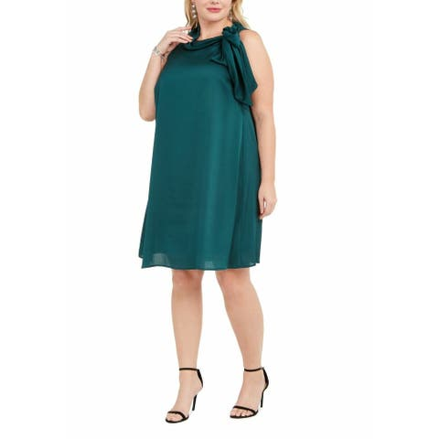 Signature by Robbie Bee Womens Dress Green Size 14W Plus Shift Tie Neck
