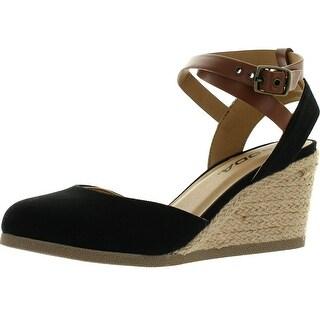 Link to Soda Womens Request Closed Toe Espadrille Wedge Sandal in Black Dark Tan Linen - Black/Dark Tan Similar Items in Women's Shoes