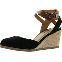 Soda Womens Request Closed Toe Espadrille Wedge Sandal In Black Dark Tan Linen - black/dark tan