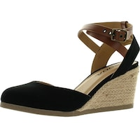 06ed430d333 Soda Womens Request Closed Toe Espadrille Wedge Sandal In Black Dark Tan  Linen - Black
