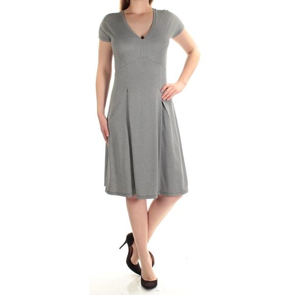 Shop Womens Black Gray Printed Short Sleeve Knee Length