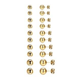 14k Gold Tone Earrings Bead Ball Studs Stainless Steel Mens Womens 3mm-7mm