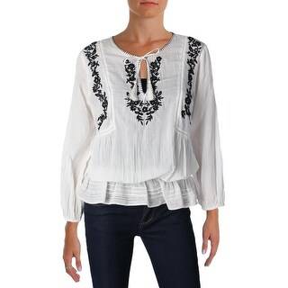 Joie Womens Virani Casual Top Gauze Embroidered - s
