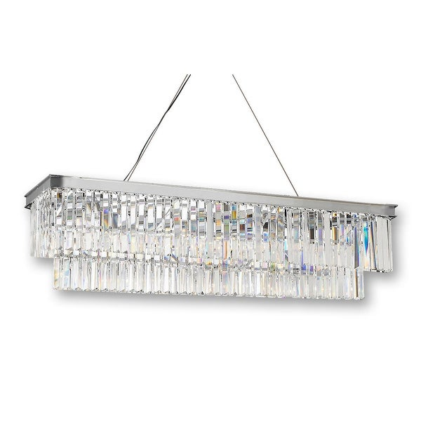 Red Rectangular Chandelier: Shop Retro Palladium Glass Fringe Rectangular Chandelier