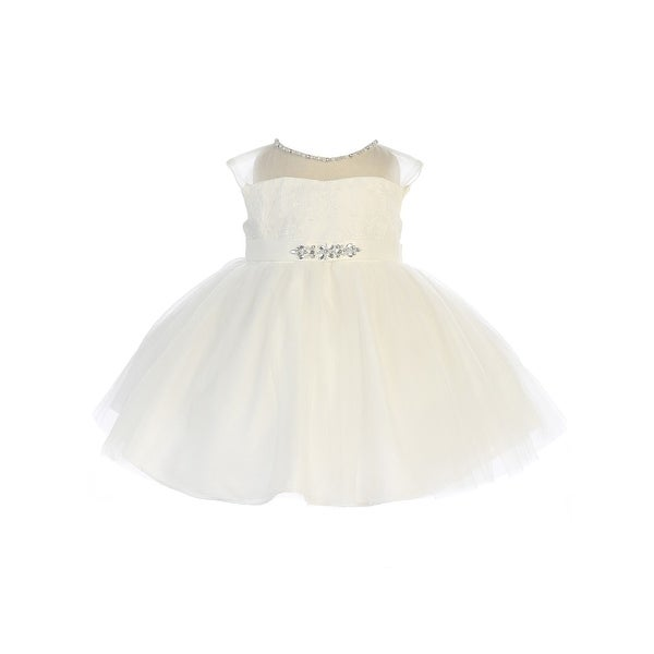 Baby Girls Ivory Illusion Neck Beaded Lace Belted Flower Girl Dress