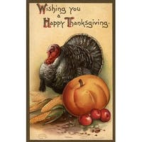 Happy Thanksgiving Turkey Produce Vintage Holiday (Art Print - Multiple Sizes)