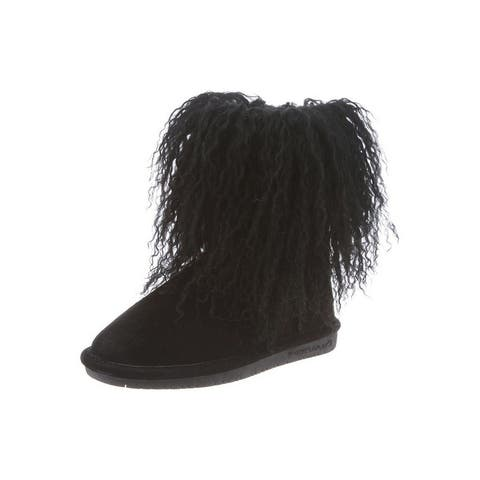 Bearpaw Casual Boots Girls Boo Youth Curly Lamb Hair Suede