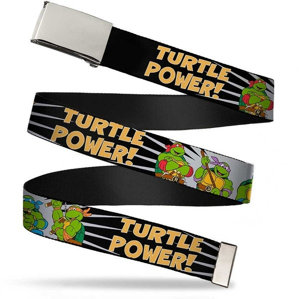 "Blank Chrome 1.0"" Buckle Classic Tmnt Group Pose Turtle Power! Webbing Web Web Belt 1.0"" Wide - S"