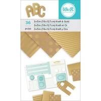 "Kraft W/Gold Foil; 36/Pkg - We R Memory Keepers Paper Pad 3""X5"""