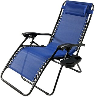 Sunnydaze Navy Blue Oversized Zero Gravity Lounge Chair