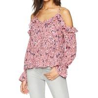 William Rast Pink Women's Size Medium M Floral Ruffle Trim Knit Top