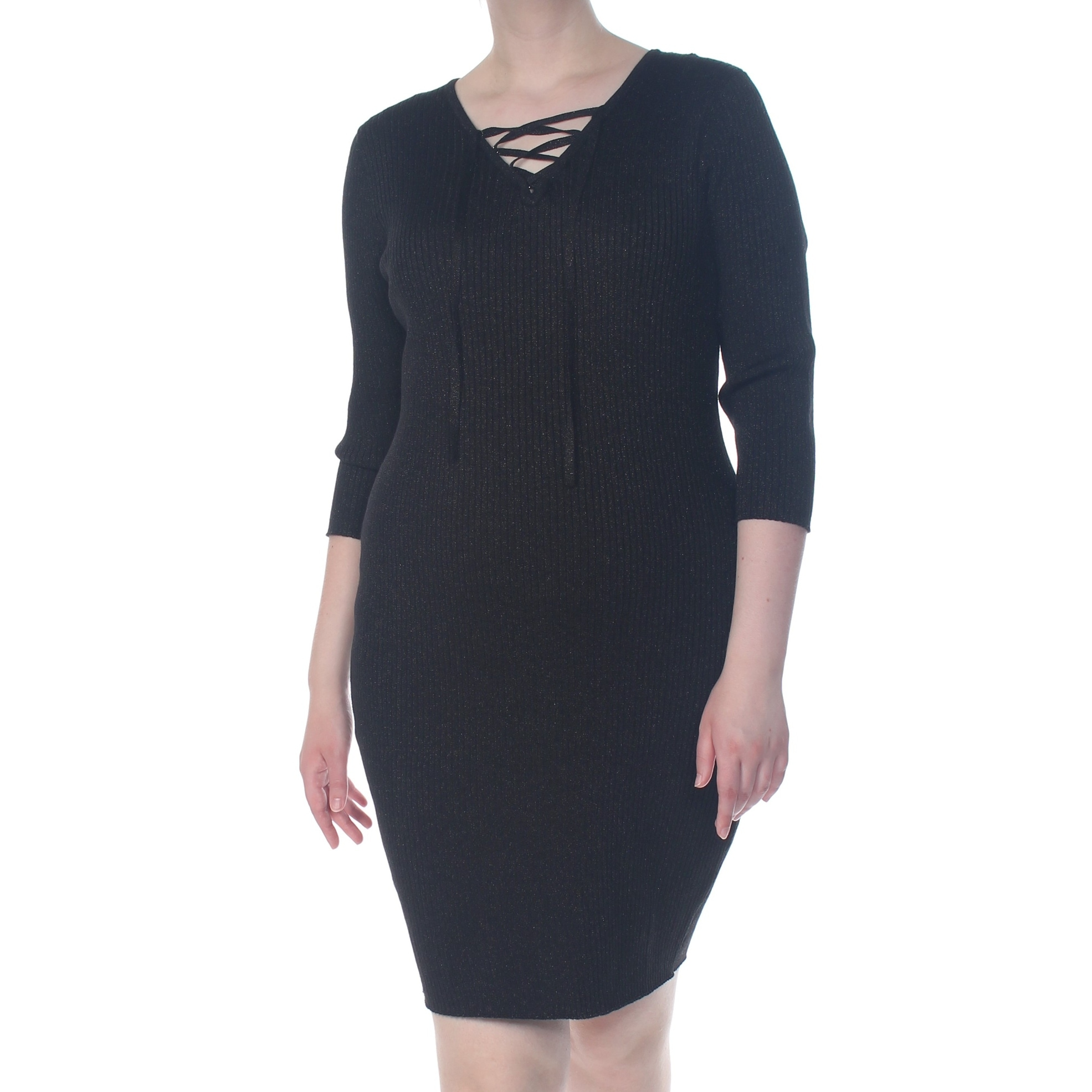 SAY WHAT? Womens Black Tie Dress Plus Size: 2X
