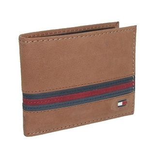 Tommy Hilfiger Men's Leather Yale Passcase Billfold Wallet - Tan - One Size