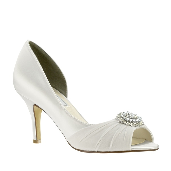 Pleated Satin Mid-Heel Peep-Toe Pump