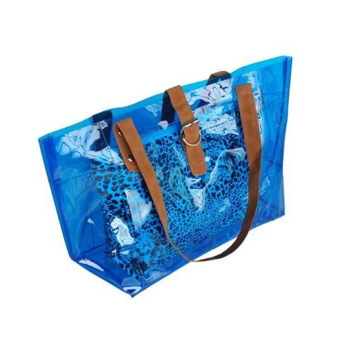 [Lucky Blue] Leopard Double Handle Leatherette Satchel Bag Handbag Purse Casual Styling