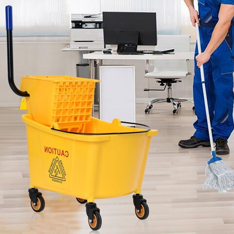 Costway 35 Quart Side Press Wringer Mop Bucket Mop Bucket Wringer Combo
