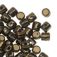 Czech Glass Minos par Puca, Cylindrical Beads 2.5x3mm, 120 Pieces, Dark Gold Bronze