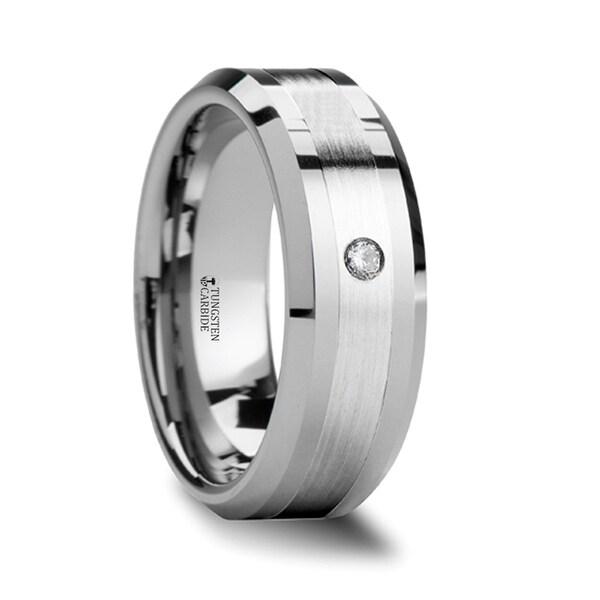 GAUTIER Palladium Inlaid Beveled Tungsten Ring with Diamond - 6mm - 8mm