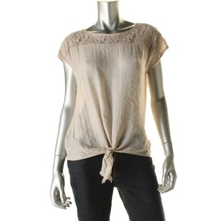 Cable & Gauge Womens Shimmer Lace Overlay Pullover Top - S