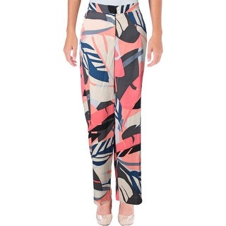 Vince Camuto Womens Wide Leg Pants Tropical Print Flat Front