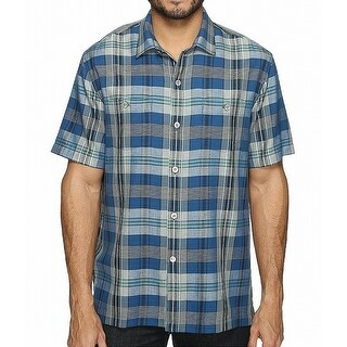 Tommy Bahama Blue Mens Size XL Paratay Plaid Button Down Shirt
