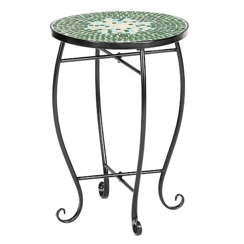 Pretty Color Glass Round Terrace Bistro Table End Table Coffee Table