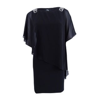 X by Xscape Women's Embellished Chiffon Cape Dress