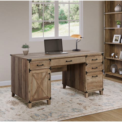Saint Birch Oxford Rustic Oak Pedestal Desk