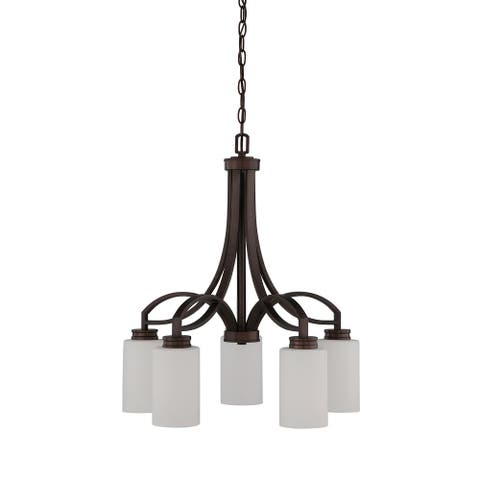 Dalton 5-Light Chandelier, Metal Down Light Ceiling Fixture with Glass Shades