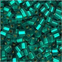 Miyuki 4mm Glass Cube Beads Transparent Matte Silver Lined Teal 2425F 10 Grams