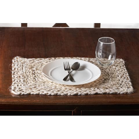 """Woven Bleach and Natural Jute Square Place Mat - 1'3"""" x 1'3"""""""
