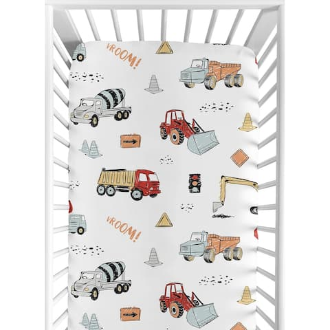 Sweet Jojo Designs Construction Truck Collection Boy Fitted Crib Sheet - Grey Yellow Orange Red and Blue Transportation
