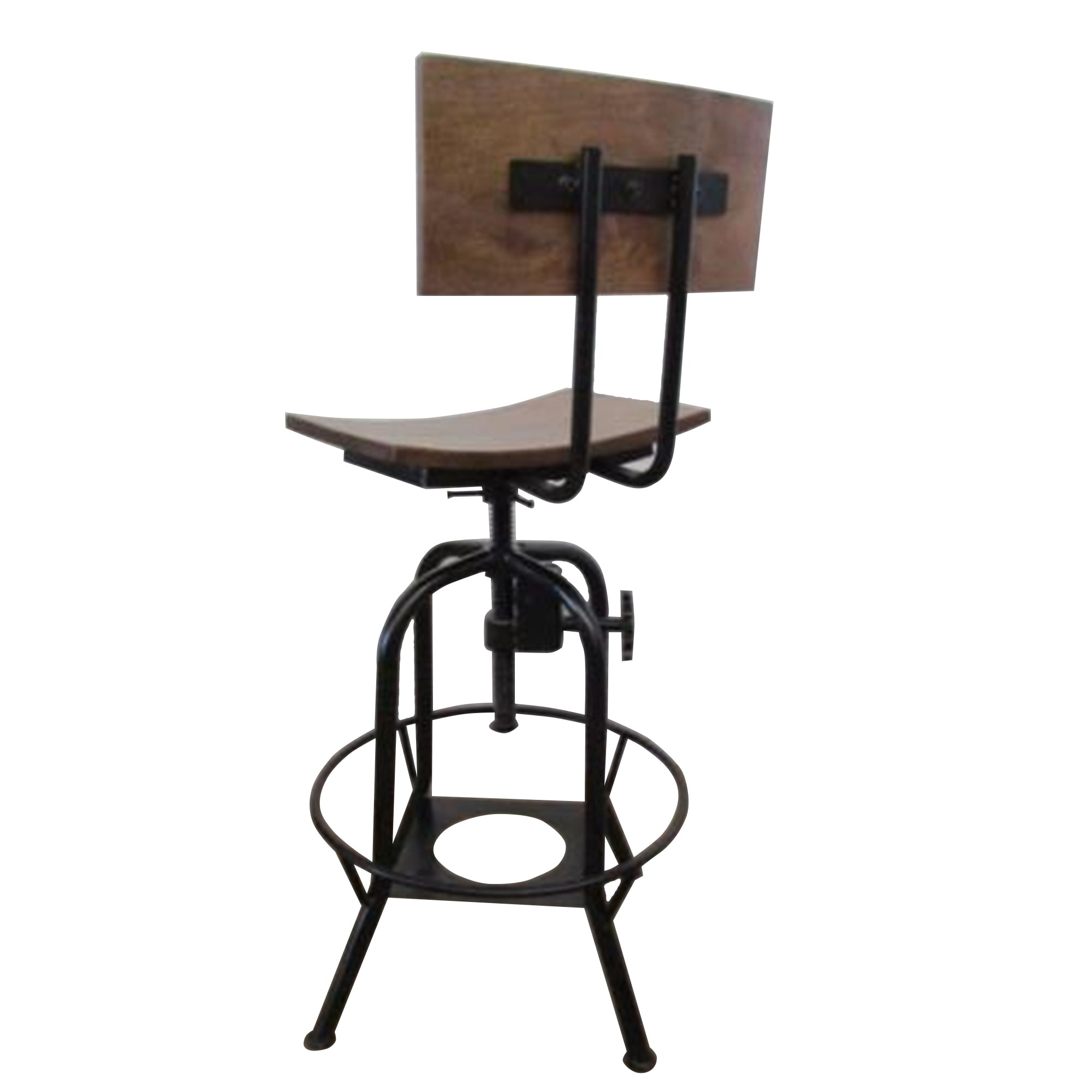 Wood 18 Inch Wide Adjustable Height Bar Stool With Backrest Overstock 14041848