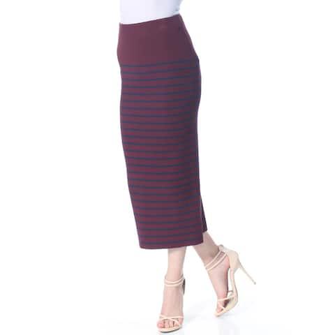 RALPH LAUREN Womens Burgundy Striped Maxi Skirt Size: XS