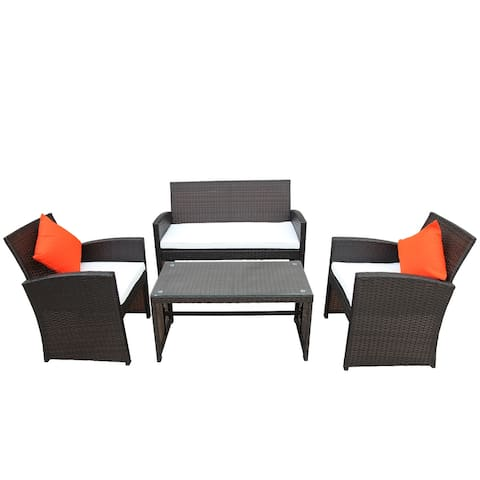 Outdoor Patio Set Rattan Loveseat and Chairs