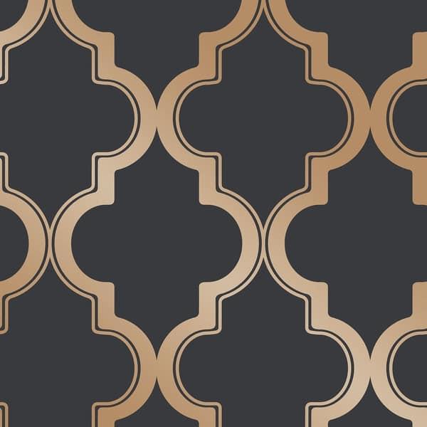 Shop Marrakesh Peel And Stick Wallpaper Overstock 27543617 Midnight Metallic Gold