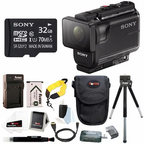 Sony HDR-AS50/B Full HD Action Cam w/ 32GB Card & Battery Pack Bundle