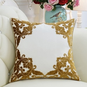 Luxury Yellow Detailed Floral Pillow 20X20 (b-polyester insert)