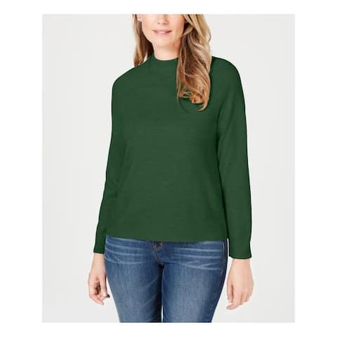 KAREN SCOTT Womens Green Long Sleeve Crew Neck Sweater Size XS