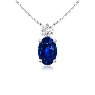 Angara Prong Set Oval Sapphire Solitaire Pendant with Diamond - White