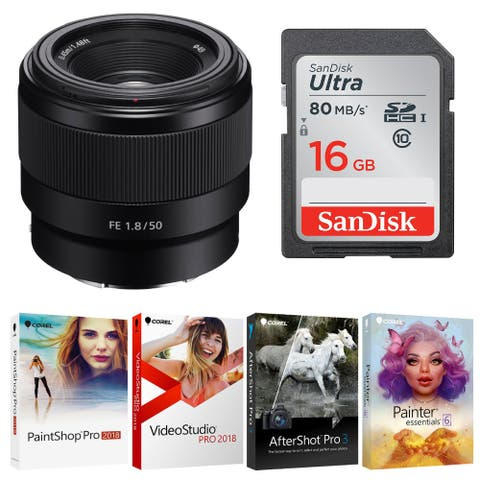 Sony FE 50mm f/1.8 Lens with 16GB SD Card and Software Kit - Black