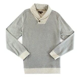 Tasso Elba NEW Brown Sugar Mens Size Large L Geo Shawl Collar Sweater