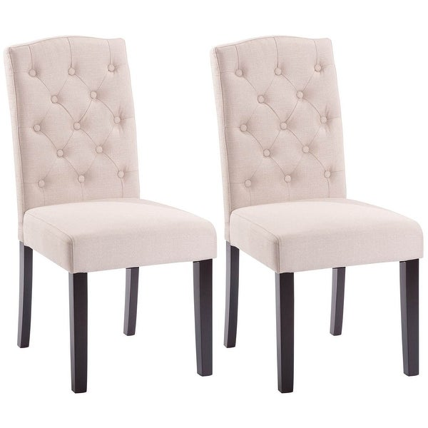 Shop Costway Set of 2 Linen Fabric Wood Accent Dining ...