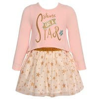 Rare Editions Baby Girls Pink Gold Glitter Star Print Long Sleeve Dress
