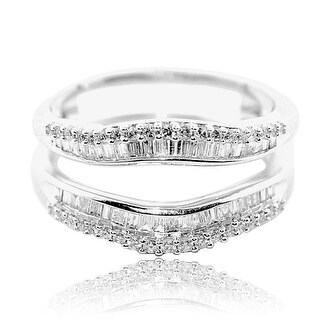 1/2cttw Diamond Baguette Ring Guard Solitaire Jacket 10K White Gold 10.5mm Wide By MidwestJewellery