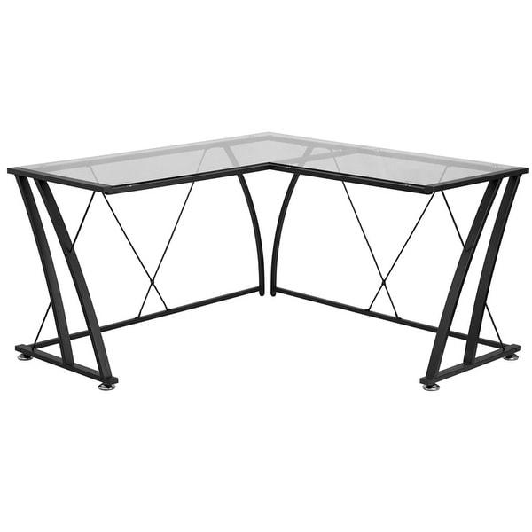 Hamlet Glass L-Shape Home/Office Computer Desk w/Black Frame Finish