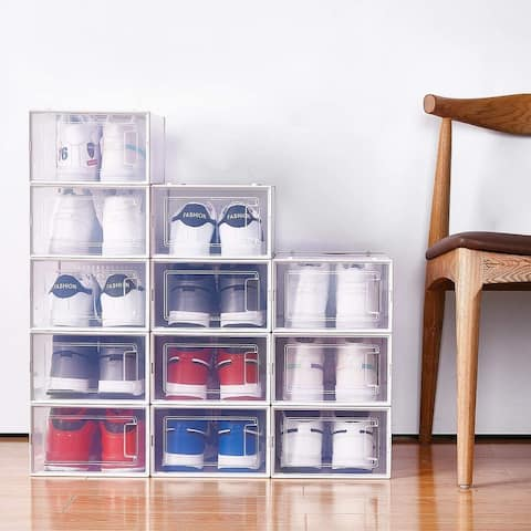 8 Pack Stackable Clear Shoe Storage Box
