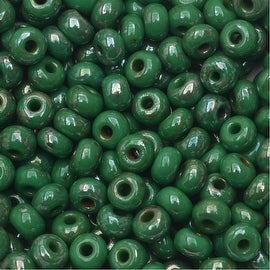 Czech Glass, 6/0 Round Seed Beads, 8 Grams, Green Picasso